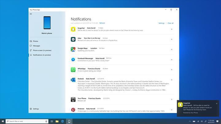 Microsoft Telefonunuz uygulaması, cihazlar arası kopyala yapıştır özelliğini destekleyecek