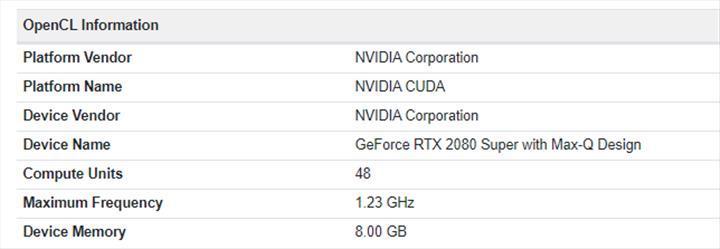 Nvidia RTX 2080 Super Max-Q Geekbench'te ortaya çıktı
