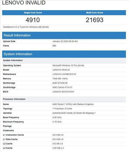 Ryzen 7 4800U Geekbench testine tabi tutuldu