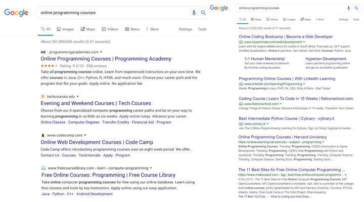 Google'dan arama sonuçlarının tasarımı için geri adım