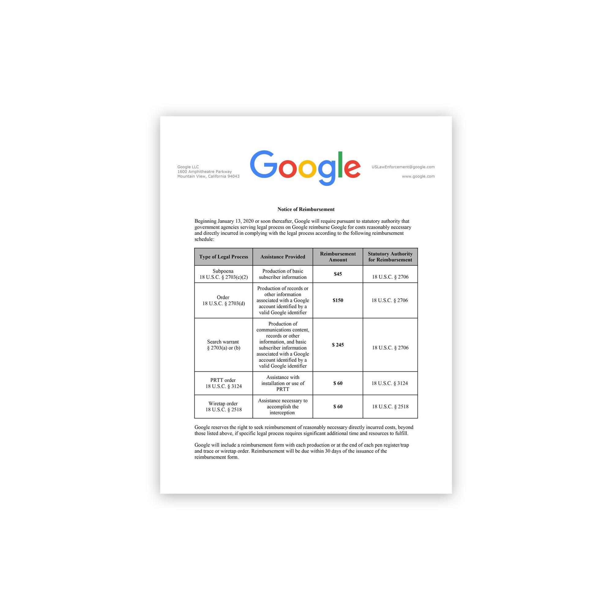 Google'dan veri isteyen kolluk birimleri para ödeyecek