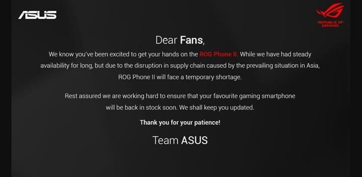 Asus ROG Phone II için Corona yüzünden stoklarda sıkıntı çekiliyor