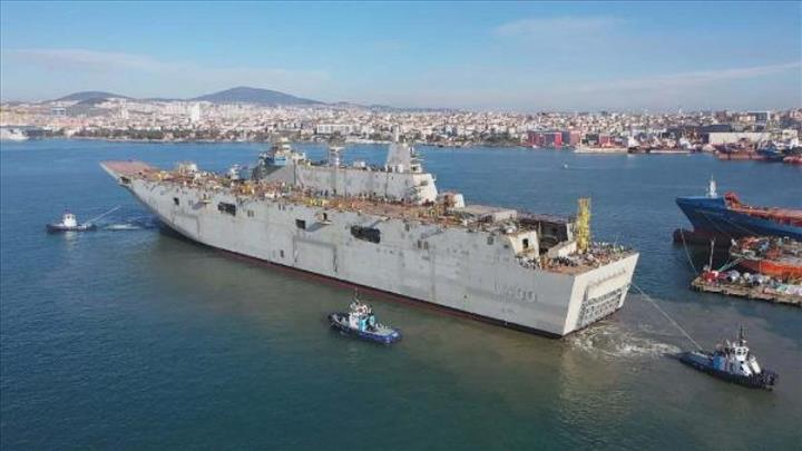 Türkiye'nin en büyük savaş gemisi TCG Anadolu'nun liman testi başlıyor