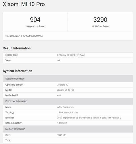 Xiaomi Mİ 10 Pro'nun performansını gösteren Geekbench skoru ortaya çıktı