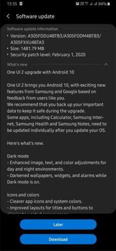 Samsung Galaxy A30, Android 10 ve One UI 2.0 güncellemesi aldı