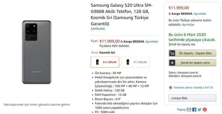 Samsung Galaxy S20 serisi Amazon'da ön siparişe sunuldu