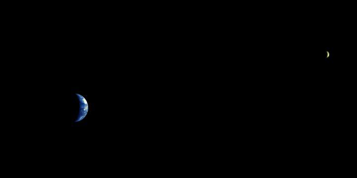 8 milyon kilometre uzaklıktan muhteşem Dünya ve Ay görüntüsü