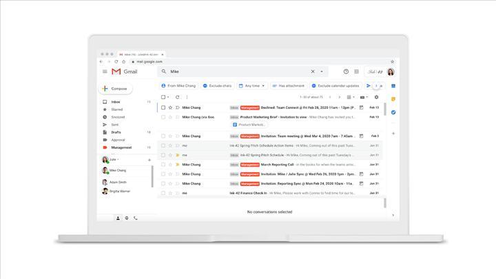 Google, Gmail'de arama yapmayı kolaylaştırıyor