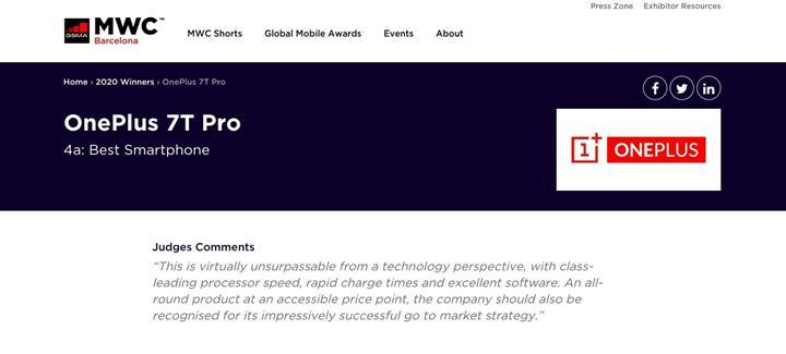 İptal edilen Mobil Dünya Kongresi 2020'nin en iyi telefonu OnePlus 7T Pro seçildi