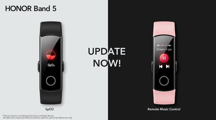 Honor Band 5i'ye SpO2 ölçümü ve Uzaktan Müzik Kontrolü özellikleri eklendi