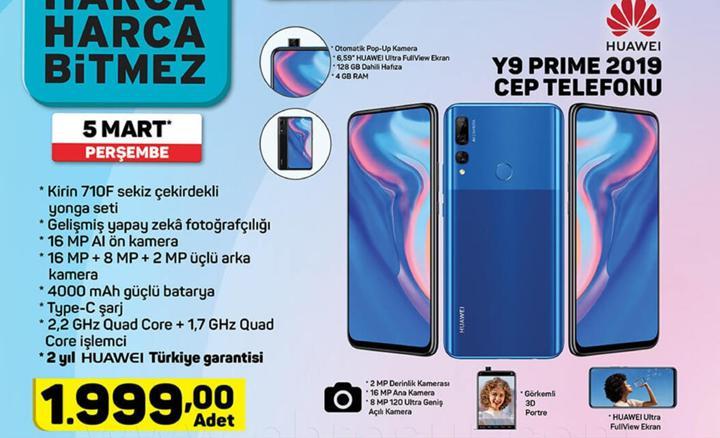 Haftaya A101 marketlerde Huawei Y9 Prime 2019, BİM marketlerde Xiaomi Earbuds var