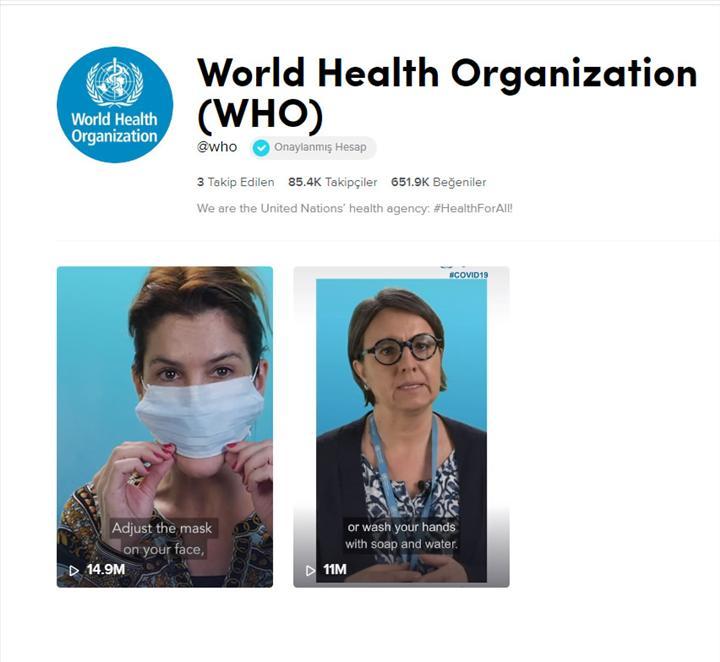 Dünya Sağlık Örgütü, Koronavirüs ile ilgili bilgilendirme yapmak için TikTok hesabı açtı
