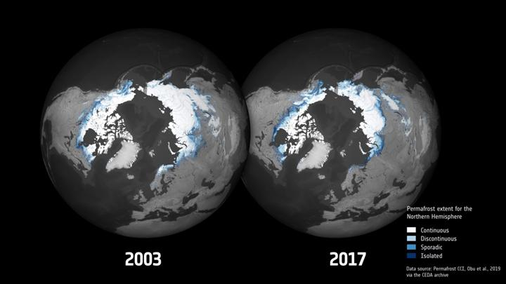 Kuzey kutup bölgesindeki donmuş toprak da artan sıcaklıklardan nasibini alıyor