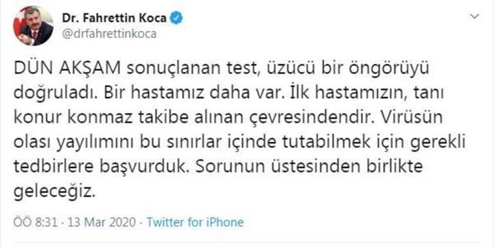 Sağlık Bakanı Fahrettin Koca'dan ikinci koronavirüs vakası açıklaması geldi