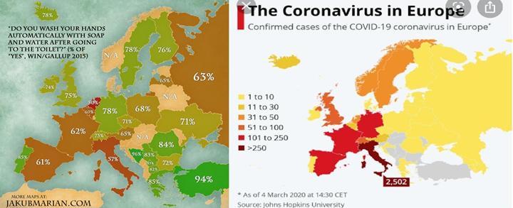 Coronavirüs vakaları el yıkama alışkanlığı ile ilişkili mi ?