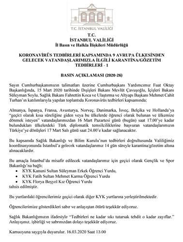 Avrupa'dan İstanbul'a gelecek yolcular yurtlarda karantinaya alınacak