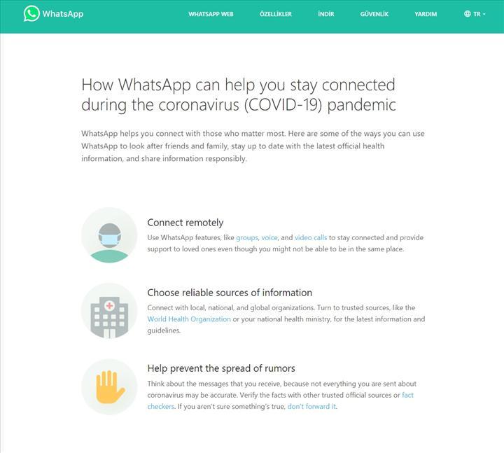 WhatsApp özel bir koronavirüs sayfası hazırladı