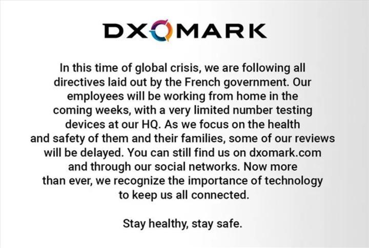 DxOMark incelemelerine koronavirüs engeli