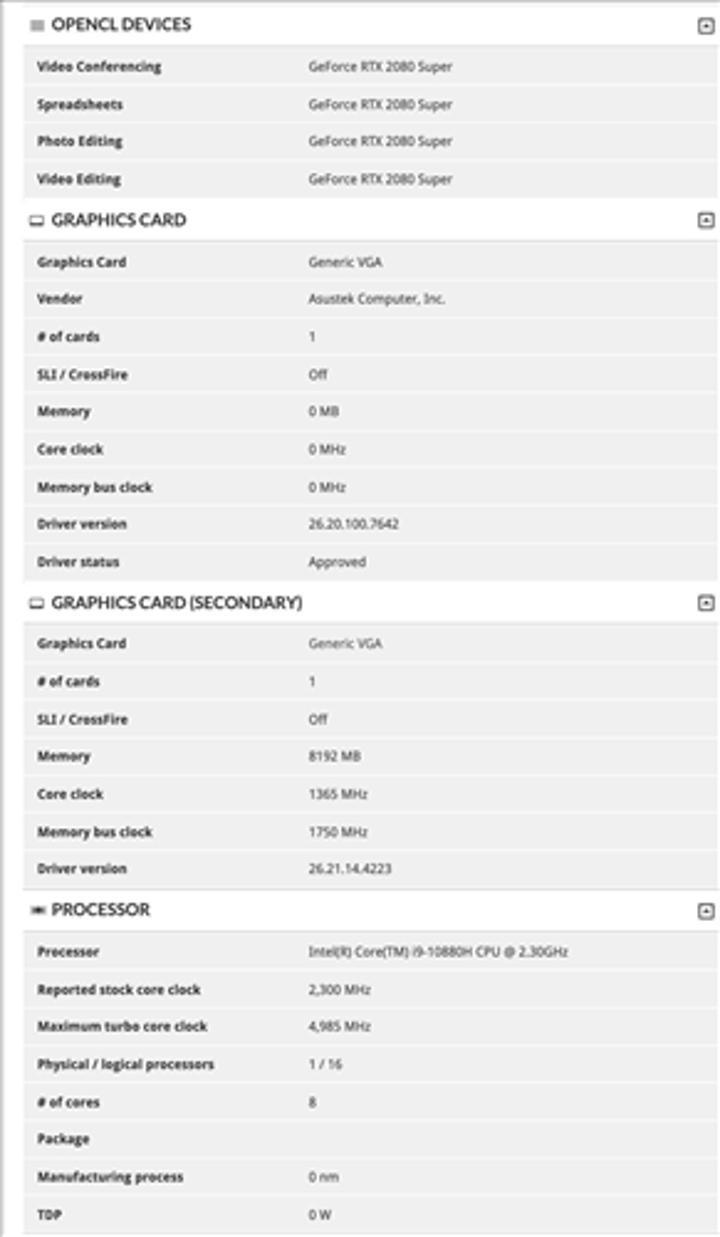 Core i9-10880H+RTX 2080 Super ikilisini barındıran dizüstü sızdı