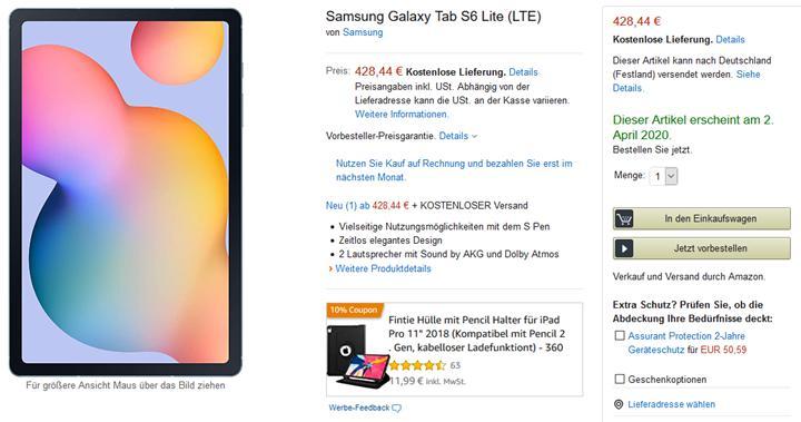 Henüz piyasaya sürülmeyen Galaxy Tab S6 Lite, Amazon'da listelendi