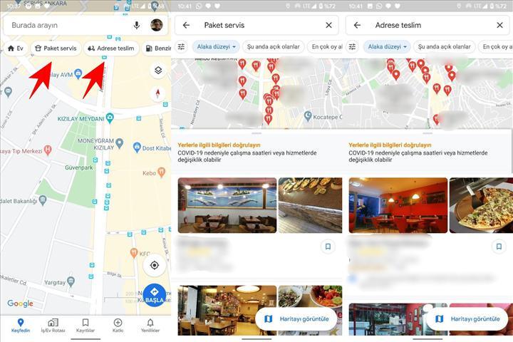 Google Haritalar artık teslimat yapan restoranları öne çıkarıyor