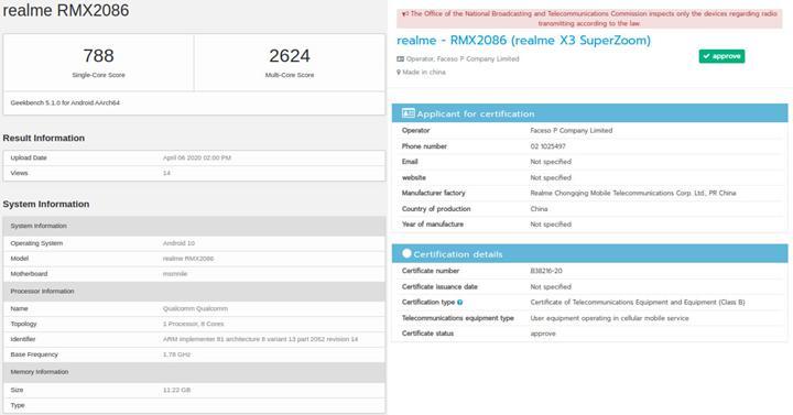 Realme X3 SuperZoom'un detayları ortaya çıktı
