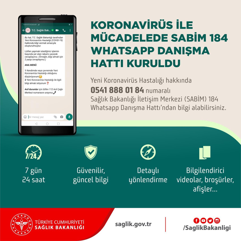 Sağlık Bakanlığı'nın Whatsapp Danışma Hattı devrede