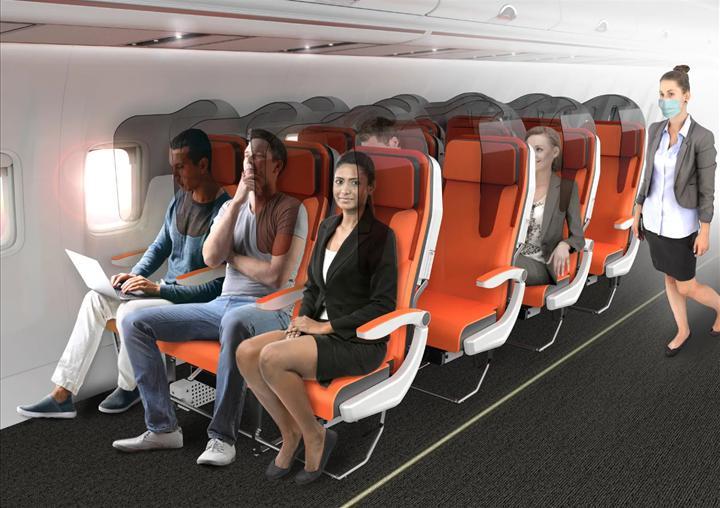 Pandemi sebebiyle uçak iç tasarım projesi üretildi