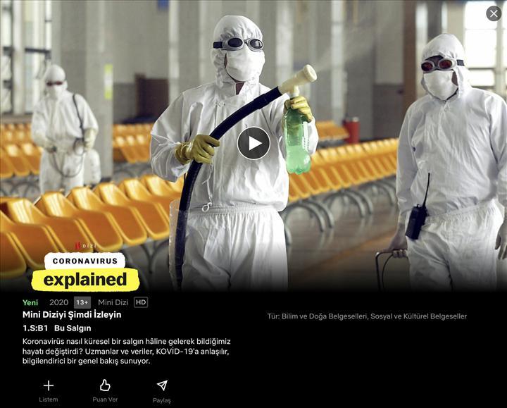 Netflix'in koronavirüs belgeseli yayınlandı
