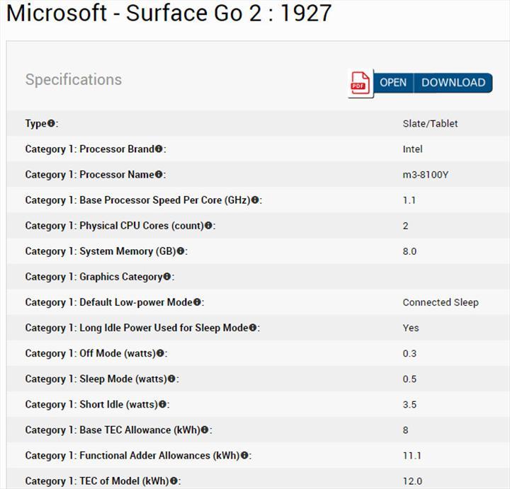 Surface Go 2 özellikleri Energy Star sertifikasında ortaya çıktı