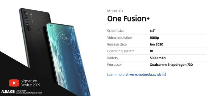 Motorola One Fusion Plus'ın render görüntüsü ve detayları ortaya çıktı