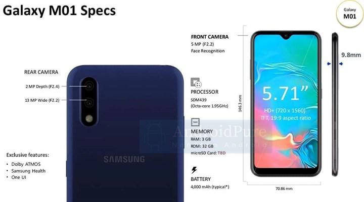 Samsung Galaxy M01'in görüntüleri ve özellikleri ortaya çıktı