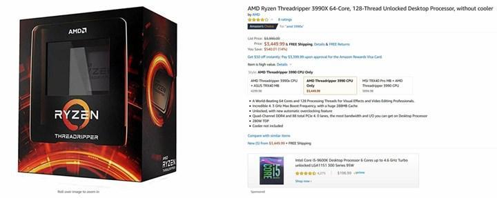 AMD Ryzen Threadripper 3990X işlemcisi 540$ indirim aldı