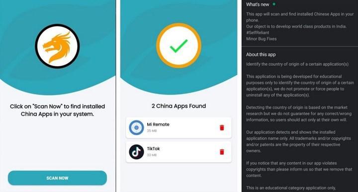 Çin uygulamalarını tespit eden uygulamayı Google kaldırdı