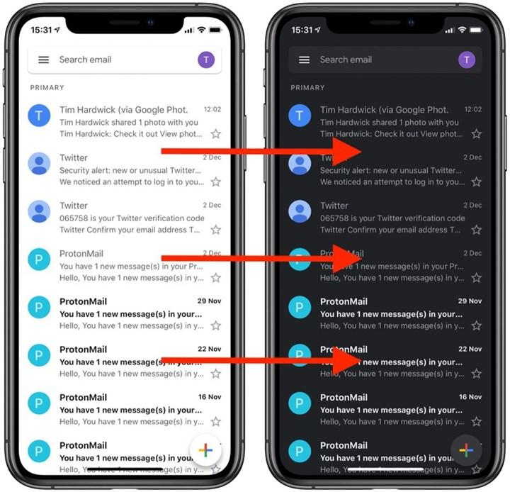 Gmail karanlık modu sonunda iPhone ve iPad'e geldi