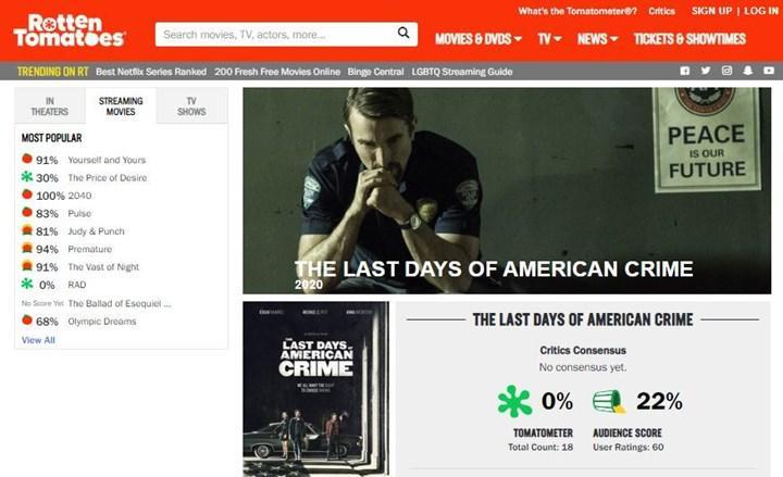 Netflix'in yeni filmi The Last Days of American Crime, Rotten Tomatoes'tan sıfır puan aldı
