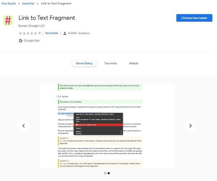 Google Chrome ile artık istediğiniz metni işaretleyerek paylaşmak mümkün