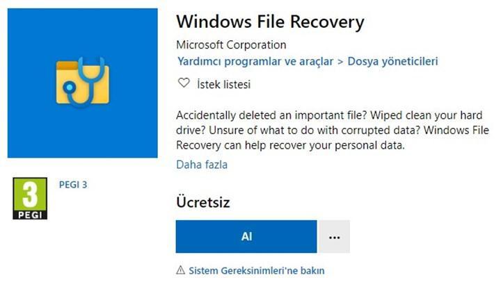 Microsoft Store üzerinde yeni Windows Dosya Kurtarma aracı kullanıma sunuldu