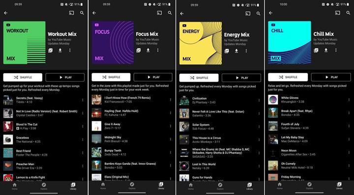 YouTube, Music uygulamasına kişiye özel dört yeni çalma listesi getiriyor