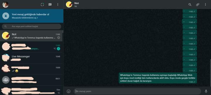 WhatsApp Web'e koyu mod özelliği geldi