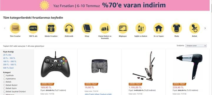 Amazon.com.tr'de Yaz Fırsatları başladı