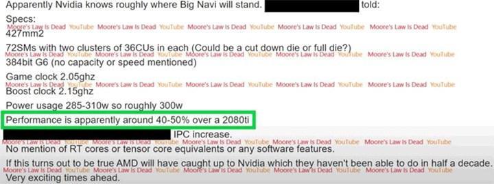 Büyük Navi RTX 2080 Ti'dan %50 hızlı olabilir: 310 watt çekebilir