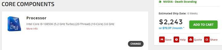 Intel Core i9-10850K'nın fiyatı sızdı