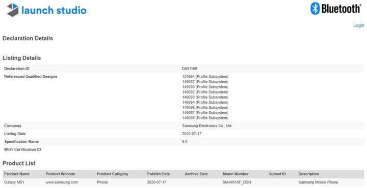 Samsung Galaxy M51, Bluetooth sertifikası aldı