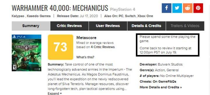 Metacritic, kullanıcıların yeni çıkan bir oyuna yorum yapması için 36 saat şartı getirdi