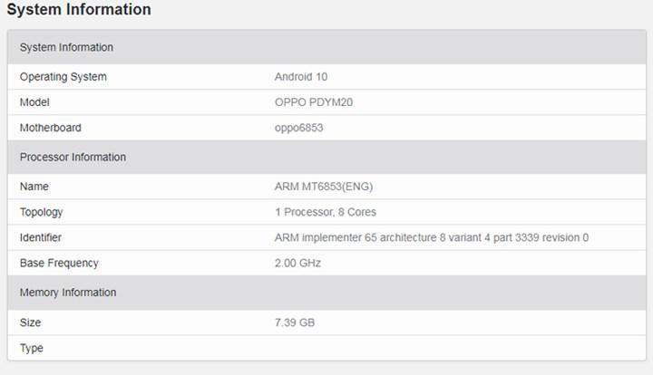 Oppo A72 5G'nin teknik özellikleri ortaya çıktı