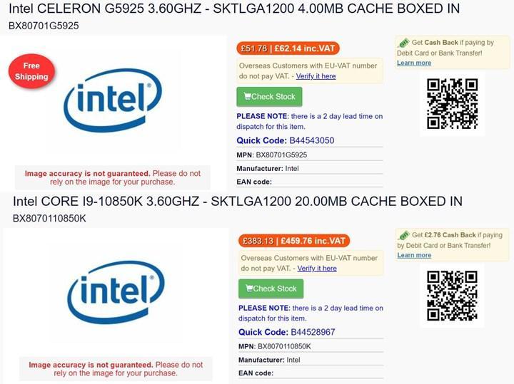 Core i9-10850K son kullanıcılara sunulabilir: Celeronlara gizli yükseltme