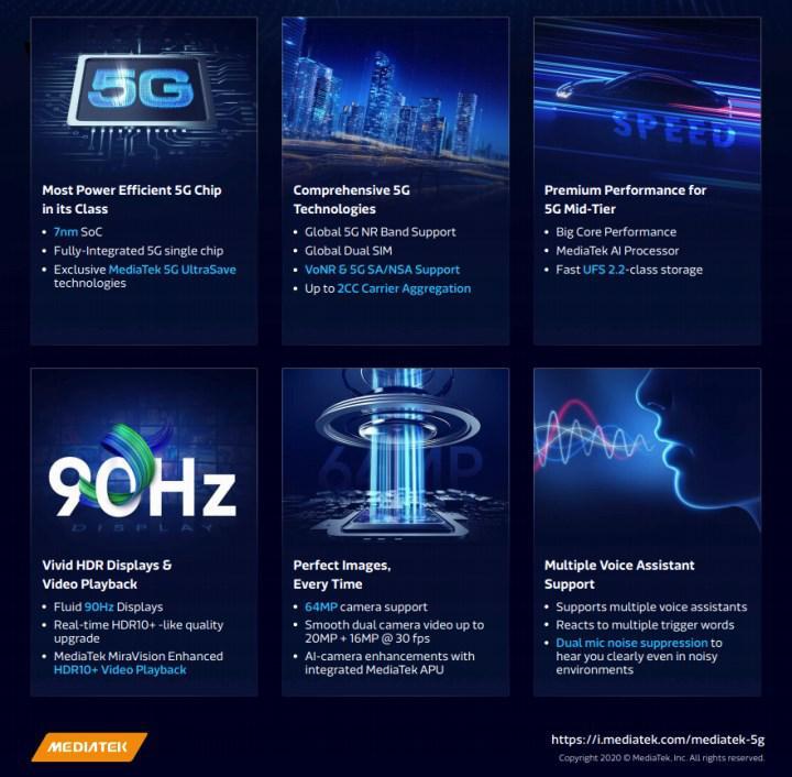 MediaTek orta sınıf telefonlara 5G getirecek Dimensity 720 işlemcisini tanıttı