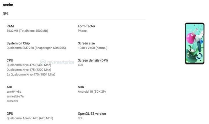 LG Q92 5G'nin teknik detayları ortaya çıktı