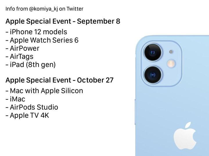 Apple'ın sonbahar etkinliğinin tarihi ve tanıtılacak yeni ürünlerin listesi sızdırıldı